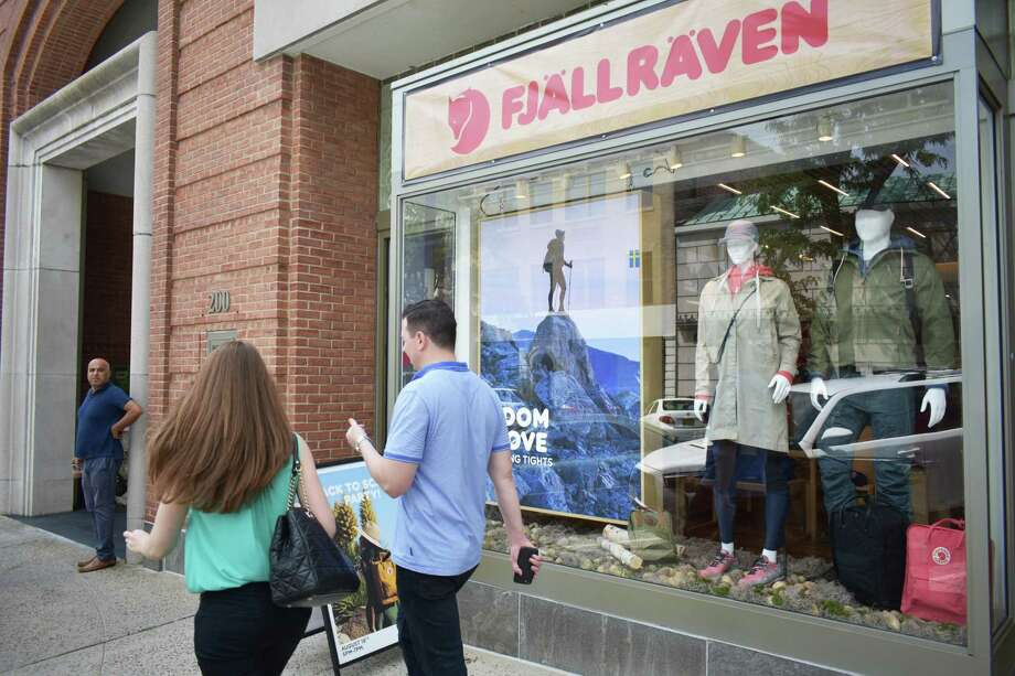 Fjallraven opened at 200 Greenwich Ave. on Saturday. The Swedish firm sells outdoors gear and apparel. Photo: Alexander Soule / Hearst Connecticut Media / Stamford Advocate