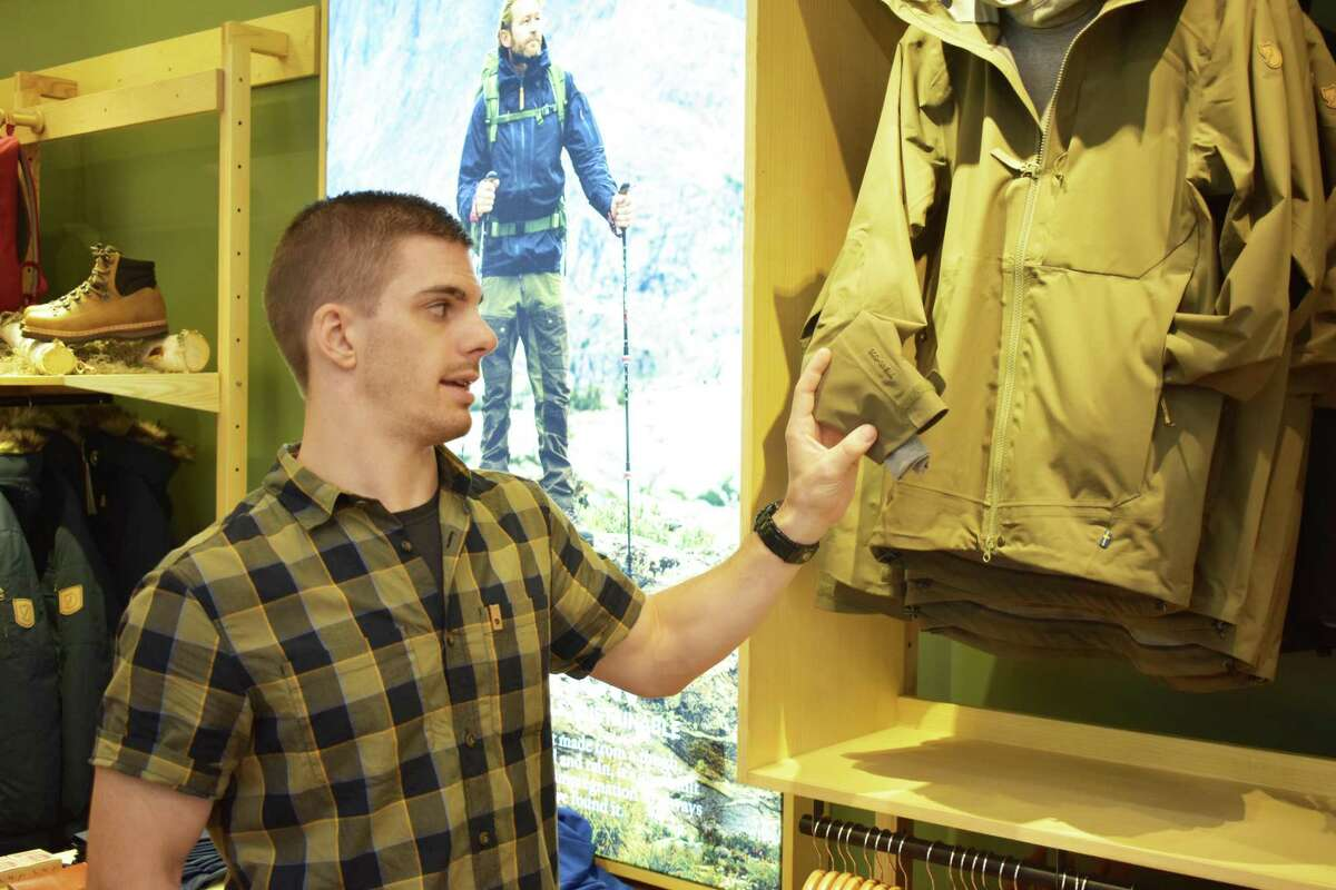 Levon Carlson, area manager for Fjallraven, on Monday at the new Greenwich store.