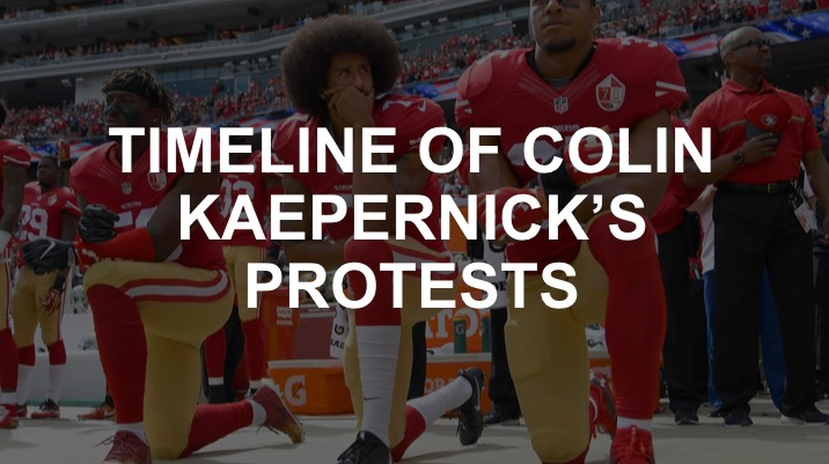 Former 49er's quarterback Colin Kaepernick began kneeling during the national anthem in 2016. Three years later, he's become a voice for social justice not just in the NFL, but around the world. Here's how he got there.