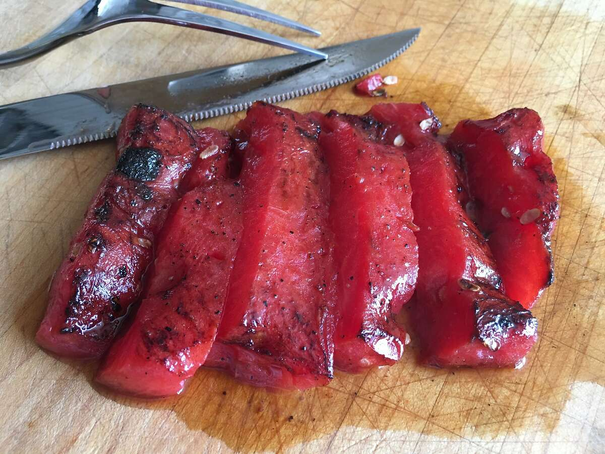 Using a vacuum food sealer to compress the watermelon prior to cooking gives this seared watermelon steak a slightly more dense, and almost meat-like, texture.