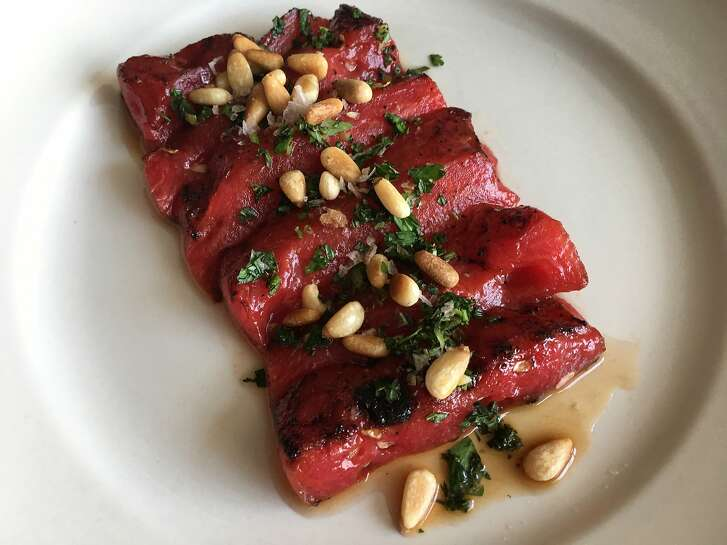 Seared watermelon steaks with mint gremolata