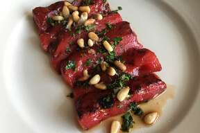 Seared watermelon steaks with mint gremolata
