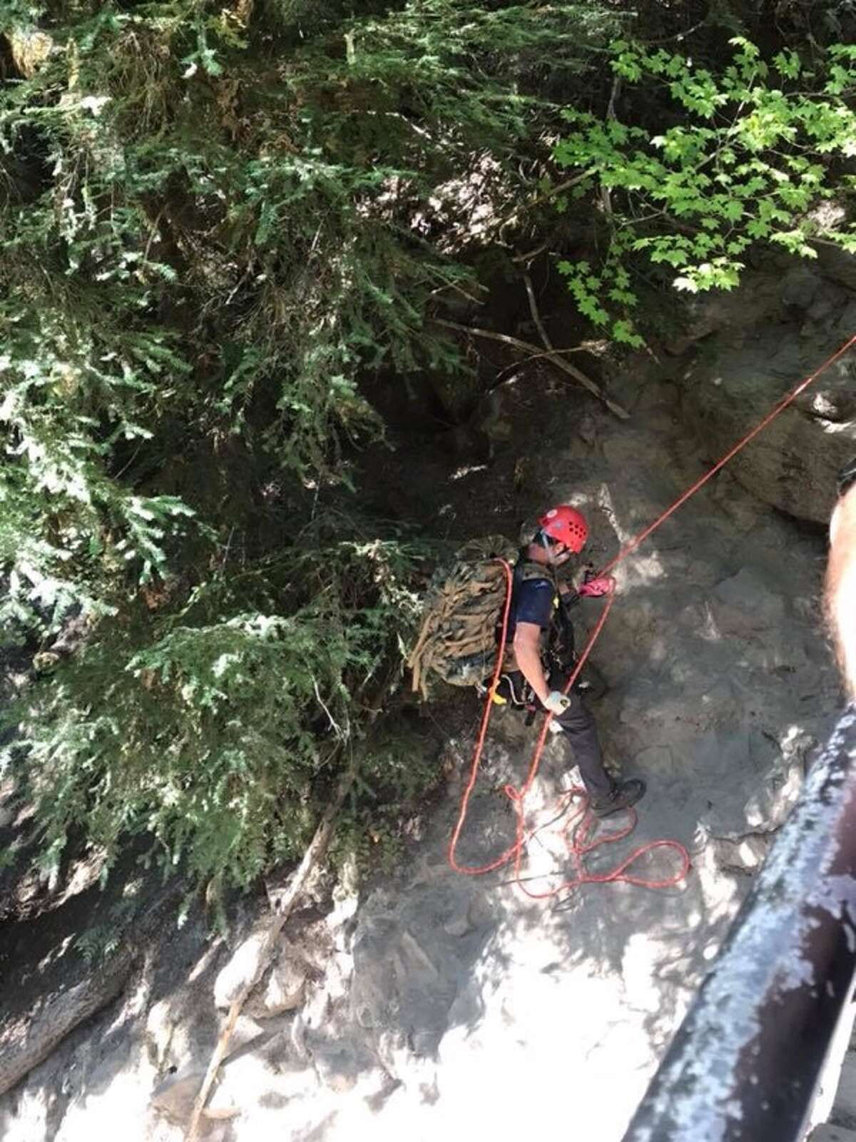 Douglas County, Oregon search and rescue personnel search for Brian Lewinstein, 23, of Berkeley, Calif. at Toketee Falls. Lewinstein