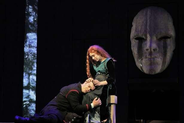 "David Blalock (left) and Kendra Broom in Debussy's dramatic ""Pelléas and Mélisande"" at West Edge Opera."