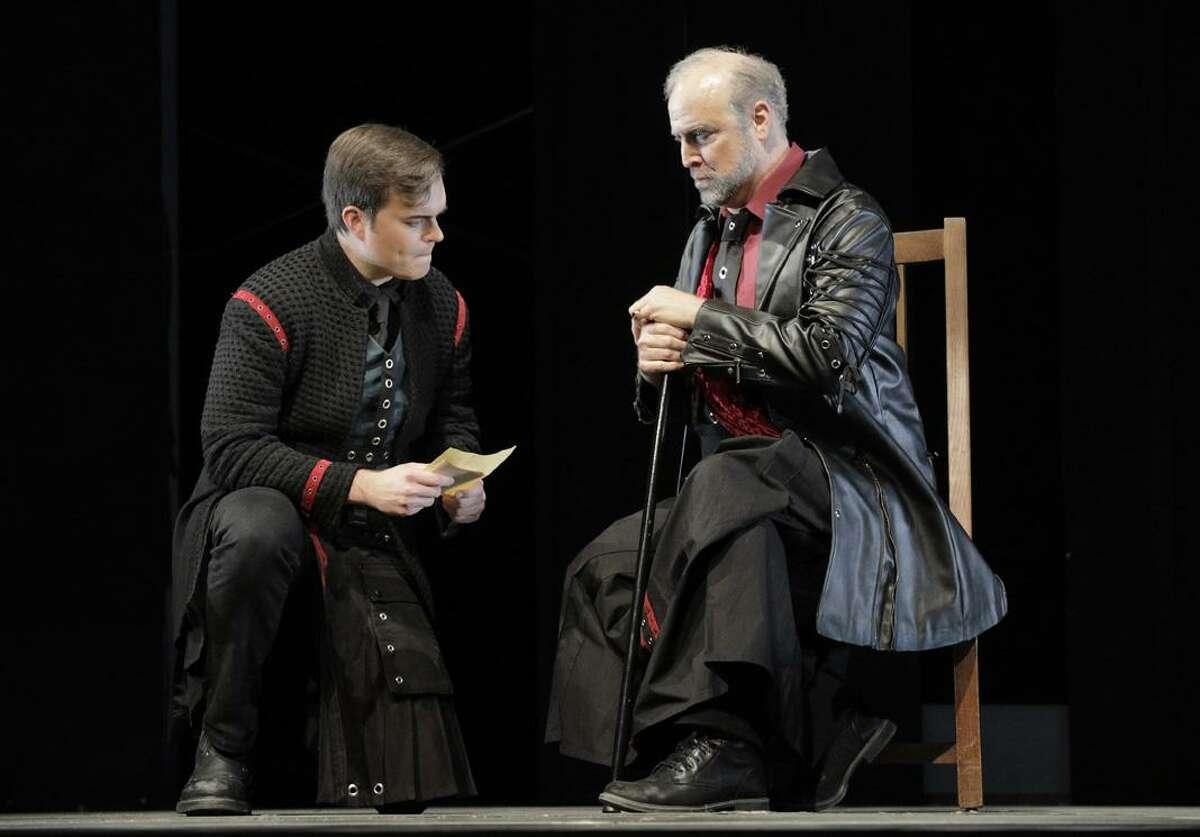 """David Blalock (l.) as Pelléas and Philip Skinner as King Arkel in Debussy's """"Pelléas and Mélisande"""" at West Edge Opera"""