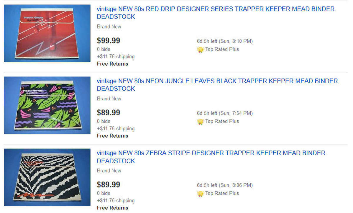 These days vintage Trapper Keepers can be found on eBay for hundreds of dollars depending on the condition and designs on the outside of them. Most of them were likely chunked in the trash on the last day of school by most students so they do have a small amount of rarity.