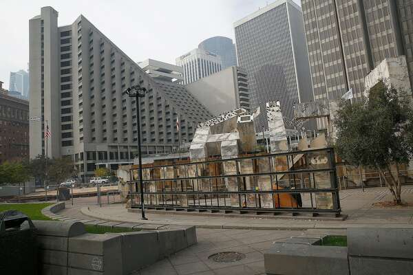 View of Justin Herman Plaza seen from the Embarcadero streetside looking at the Abraham Lincoln Brigade memorial--painted steel, onyx, concrete, olive trees/2008--and Vaillancourt Fountain onTuesday, October 17, 2017, in San Francisco, Calif.