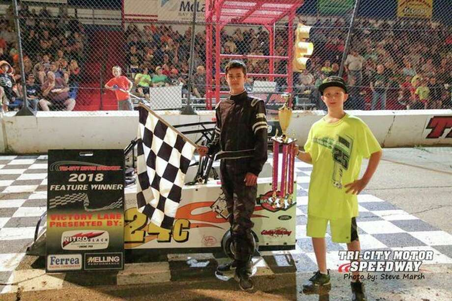 Caden Anderson won the 10-14-year-old Mini-Wedge race on Aug. 10. (Steve Marsh/Tri-City Motor Speedway)