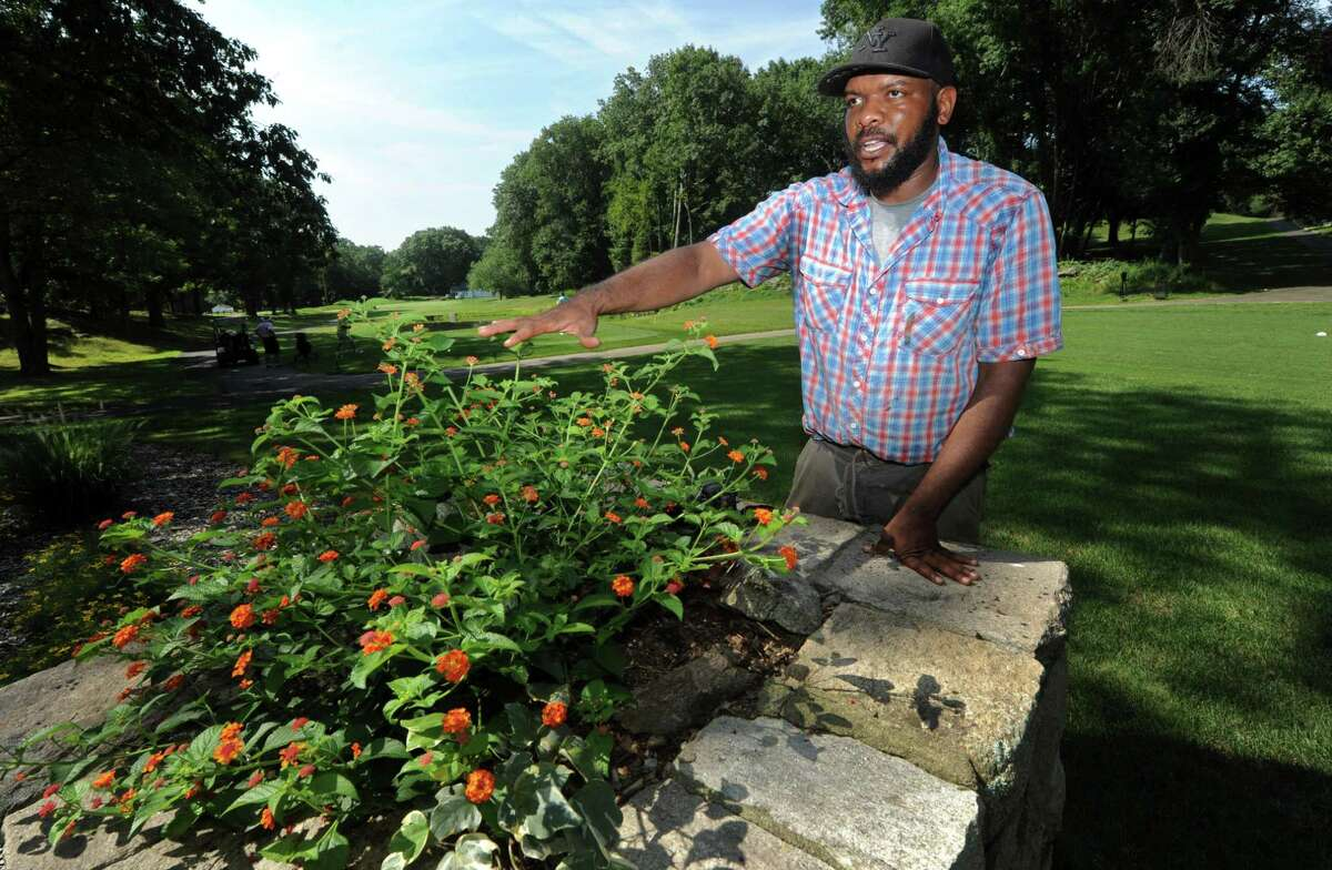 Oak Hills Park Horticulturalist Anthony Hylton at the park Friday, August 10, 2018, in Norwalk, Conn. Hylton has spent his career tending high-end gardens in Manhattan penthouses and a New Canaan estate before becoming the sole horticulturist at Oak Hills Park Golf Course, where he is in the process of creating a fountain garden designed to attract bees and butterflies at the public park and golf course.