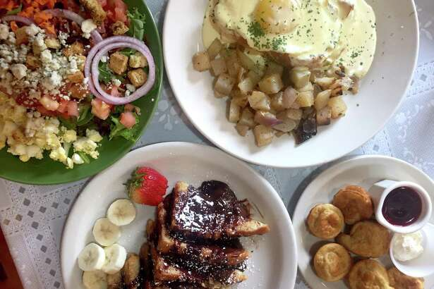 Cobb salad (clockwise from top left), croque madame sandwich, Pancake Poppers and Death by Chocolate French Toast at Meemo's Bakery & Cafe.