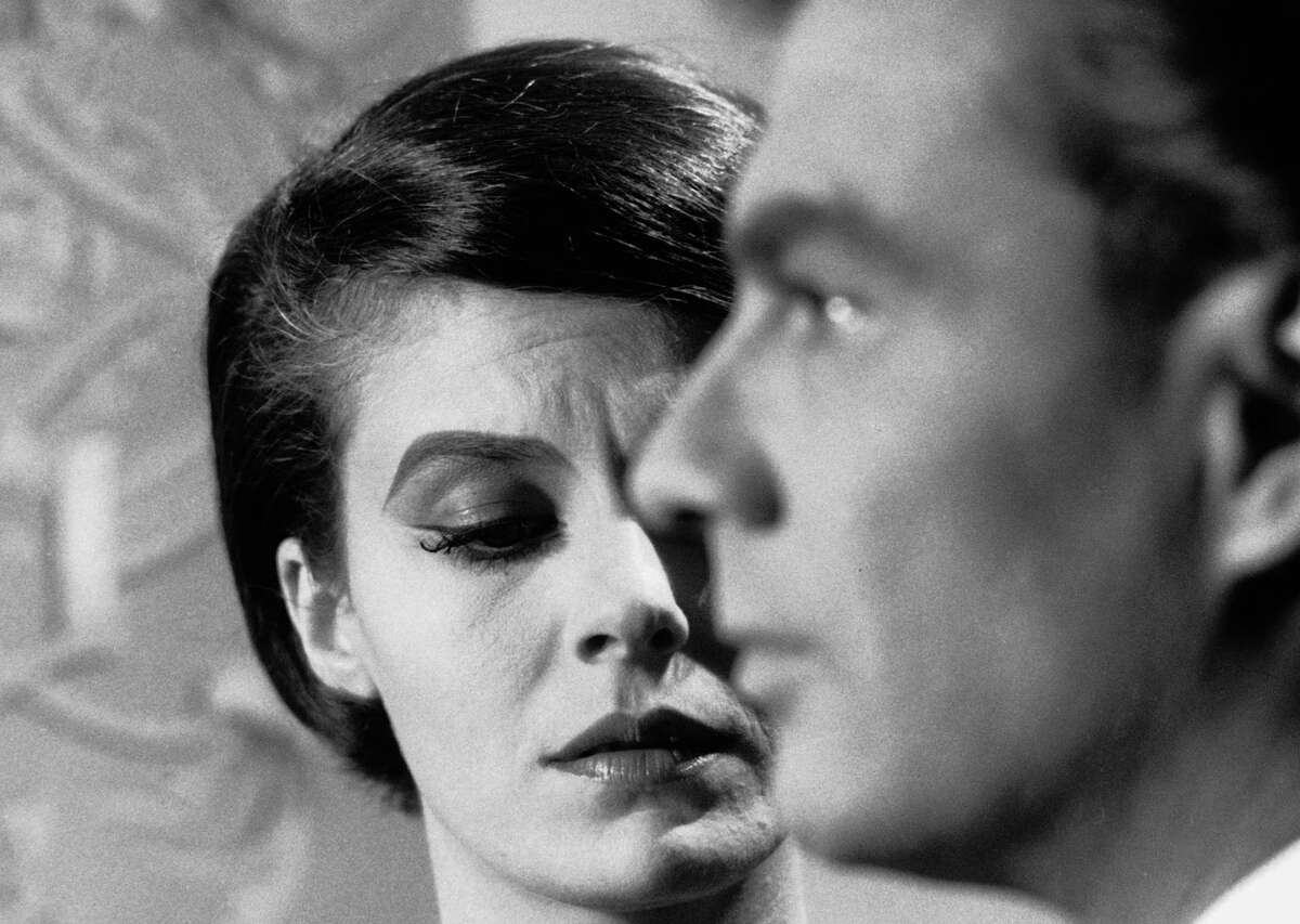 """Delphine Seyrig and Giorgio Albertazzi in """"Last Year at Marienbad"""": See it only once."""