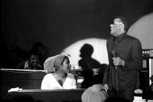 Aretha Franklin and Ray Charles perform onstage at the Fillmore West in February, 1971 in San Francisco.