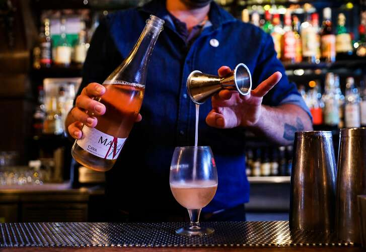 Bar manager Matt Grippo makes the Froz� All Day drink at Blackbird bar in San Francisco, California, on Thursday, July 26, 2018.