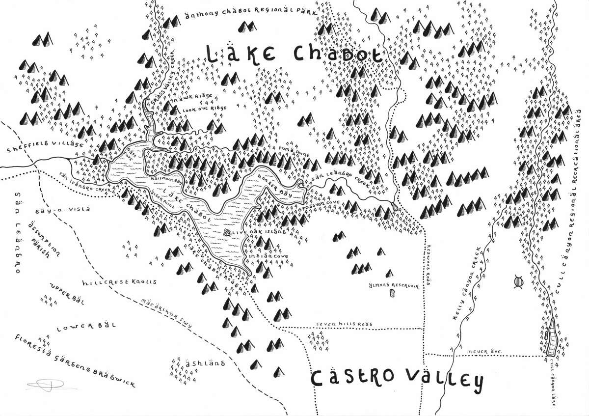 Dan Bell's rendering of Chabot Lake in Castro Valley, Calif.