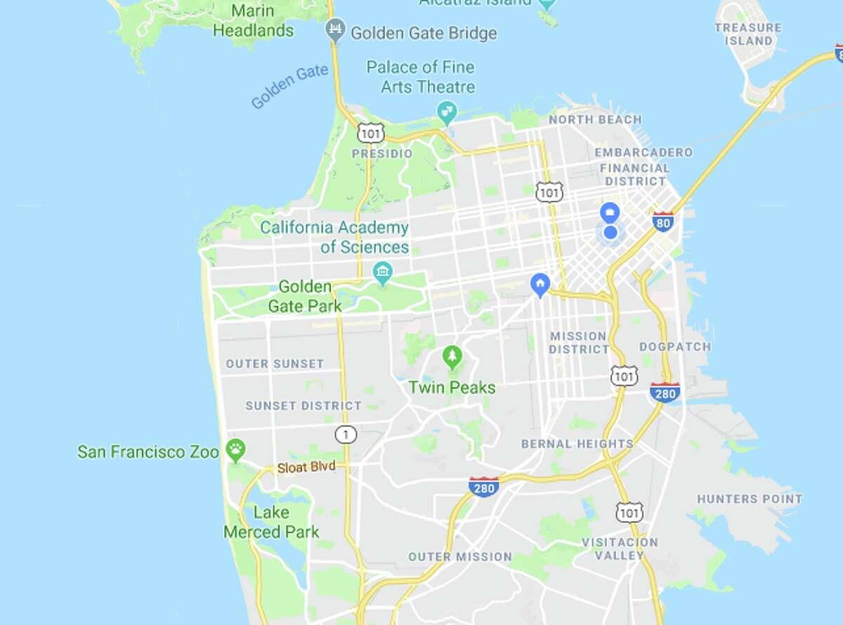 A Google Map of San Francisco.