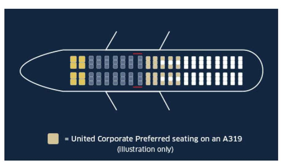 """United will reserve new """"preferred"""" seats for corporate travelers- note the seats in tan behind economy plus? Photo: United Airlines"""