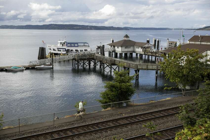 The Steilacoom Ferry dock is pictured near Ketron Island, the crash site of the Horizon Air Bombardier Q400 turboprop that was stolen from Sea-Tac International Airport, in Steilacoom, Washington on August 11, 2018. - A 29-year-old