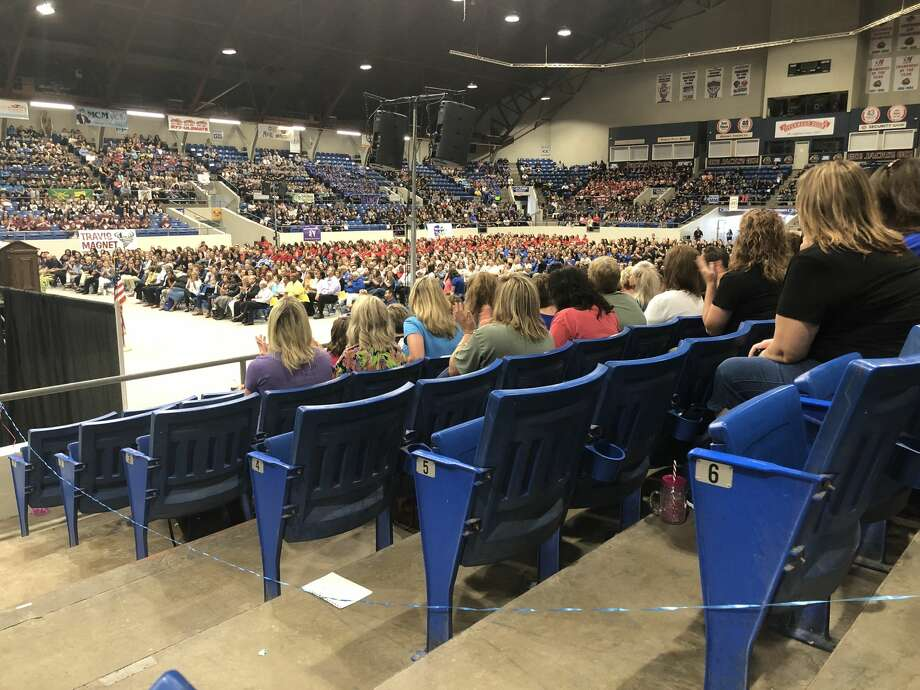 Jorrion Wilson was the keynote speaker at Ector County ISD's convocation held for teachers, administrators and staff at Ector County Coliseum.  Photo: Tori Aldana/191 News
