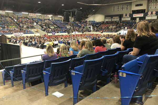 Jorrion Wilson was the keynote speaker at Ector County ISD's convocation held for teachers, administrators and staff at Ector County Coliseum.