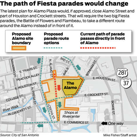 Alamo Plaza changes and the parade route
