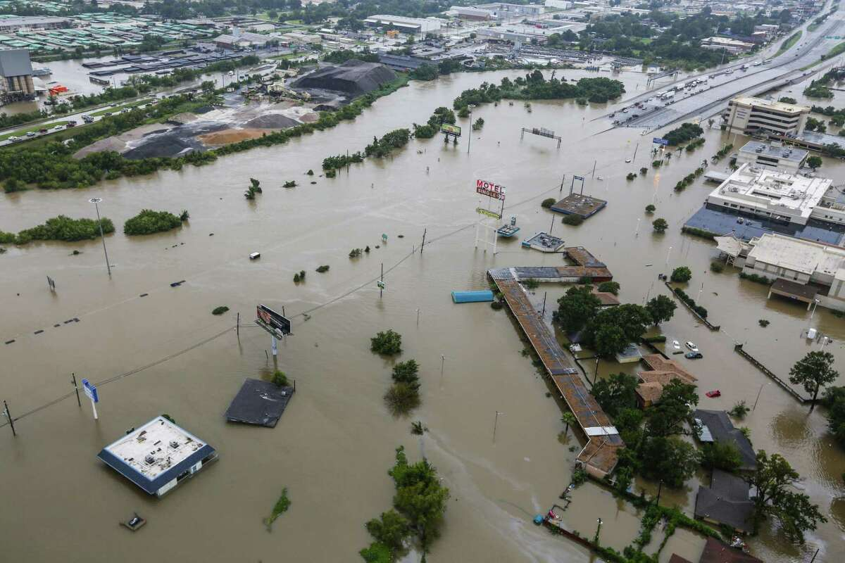 Interstate 10 east is blocked by floodwaters from Tropical Storm Harvey on Tuesday, Aug. 29, 2017, in Houston. A new survey shows the city's preoccupation with flooding is declining.