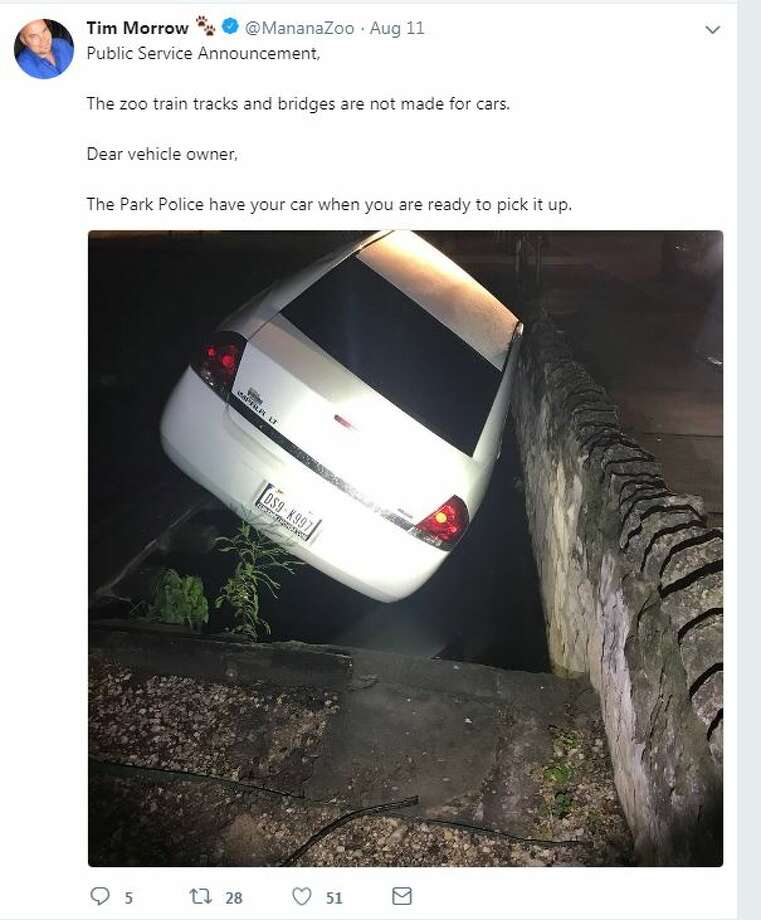 Public Service Announcement, The zoo train tracks and bridges are not made for cars. Dear vehicle owner, The Park Police have your car when you are ready to pick it up. Photo: Twitter