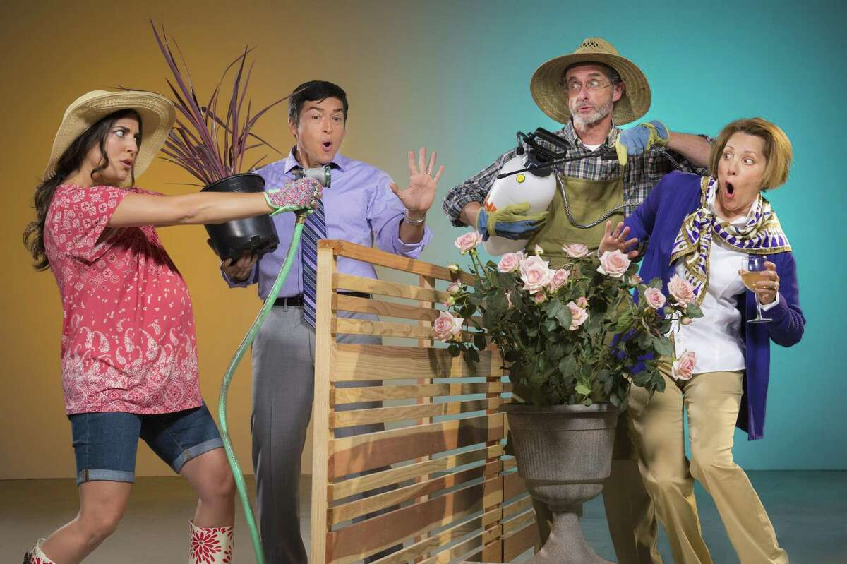 War is waged over flora and fauna when Tania (Marlene Martinez, left) and Pablo (Michael Evans Lopez) move in next to Frank (Jackson Davis) and Virginia (Amy Resnick) in Native Gardens, presented by TheatreWorks Silicon Valley.