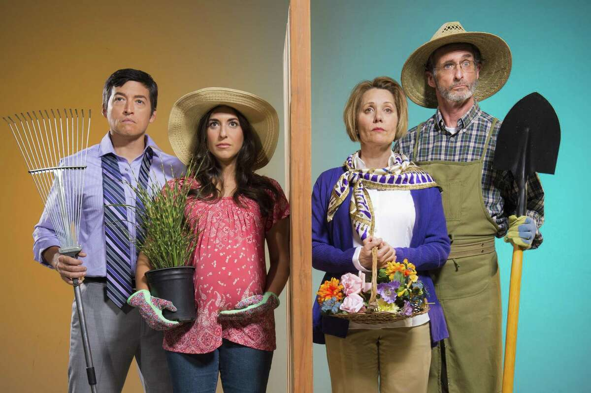 """Pablo (Michael Evans Lopez, left) and Tania (Marlene Martinez) feud with next-door neighbors Virginia (Amy Resnick) and Frank (Jackson Davis) in """"Native Gardens,"""" presented by TheatreWorks Silicon Valley."""