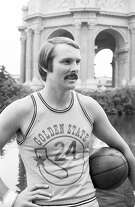 Sept. 11, 1973: Rick Barry poses in front of the Palace of Fine Arts on Warriors picture day in 1973.