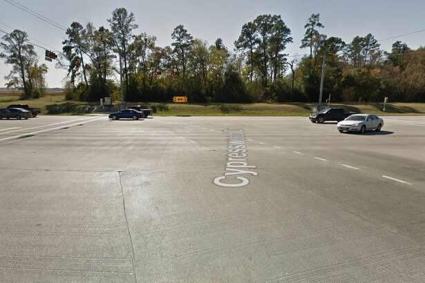Google Street Map view of Cypresswood Drive at FM 1960, where the deadly crash occurred.