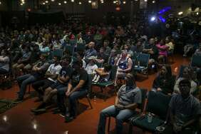 Attendees listen to speaker during an active shooter training session held Monday at City Church. The free training was organized by the Bexar County Sheriff's Office, West San Antonio Chamber of Commerce and City Church with the goal of bringing awareness to teenagers and the community.