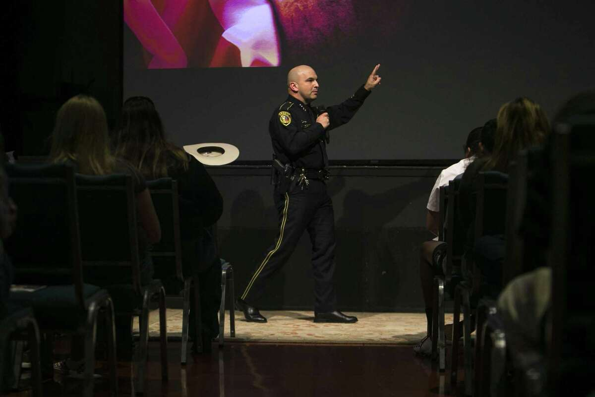 Bexar County Sheriff Javier Salazar addresses attendees at an active shooter training program held Monday at City Church.