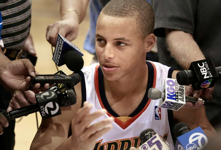 Fresh-faced rookie guard Stephen Curry meets with reporters on Warriors media day, Sept. 28, 2009. Curry averaged 17.5 points his rookie season. Photo: Brant Ward / The Chronicle 2009