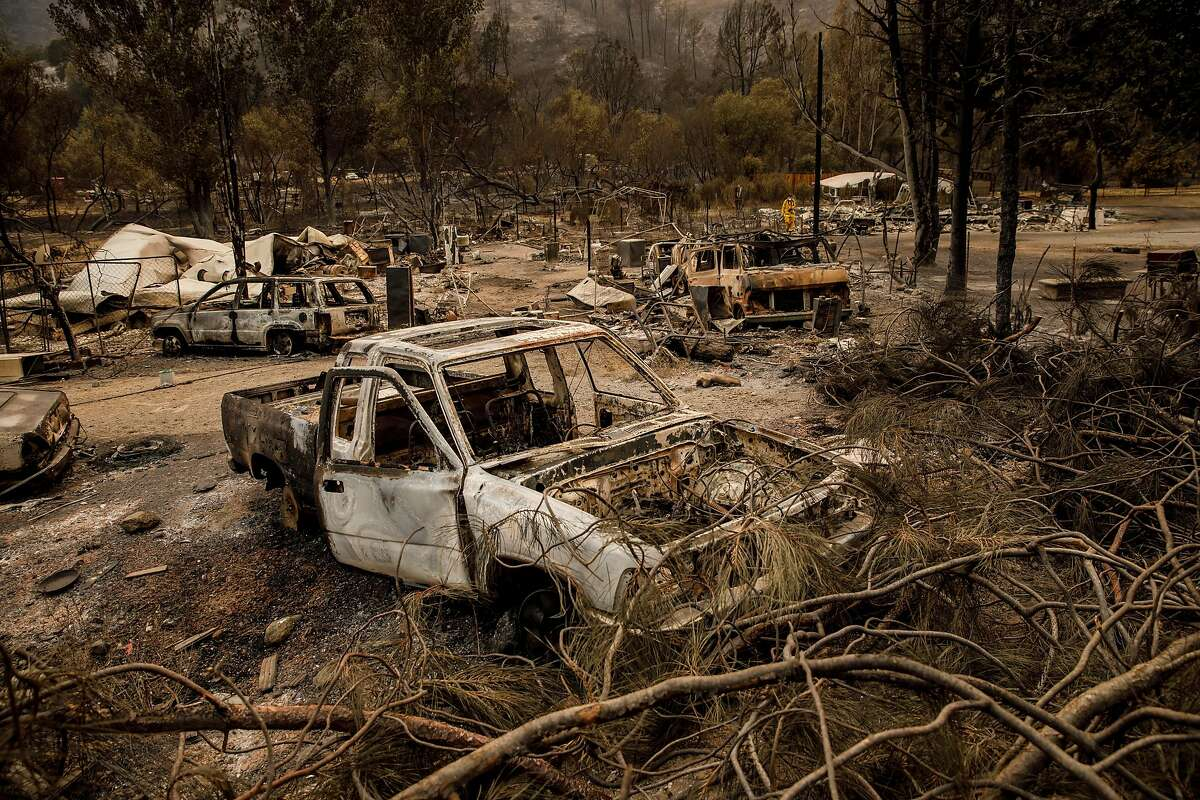 Structures, cars and property burned by the Mendocino Complex fire near Clearlake Oaks, Calif., on August 7, 2018. (Marcus Yam/Los Angeles Times/TNS)