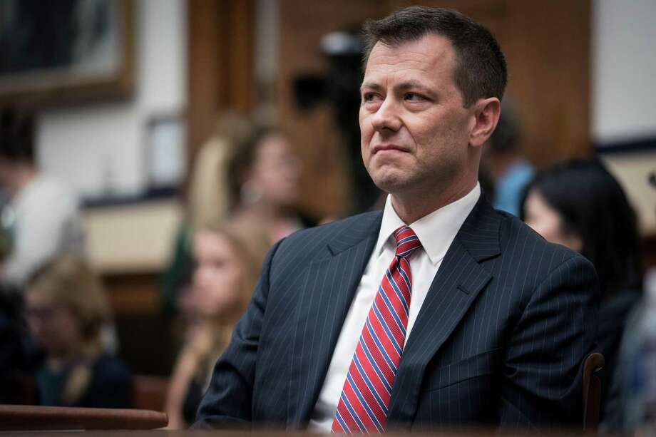 Peter Strzok, a top FBI counterintelligence agent, appears at a heated congressional hearing in Washington on July 12, 2018. Strzok, who disparaged President Donald Trump in inflammatory text messages and helped oversee the Hillary Clinton email and Russia investigations, was fired for violating bureau policies, his lawyer said Monday, Aug. 13, 2018. Photo: ERIN SCHAFF, STR / NYT / NYTNS