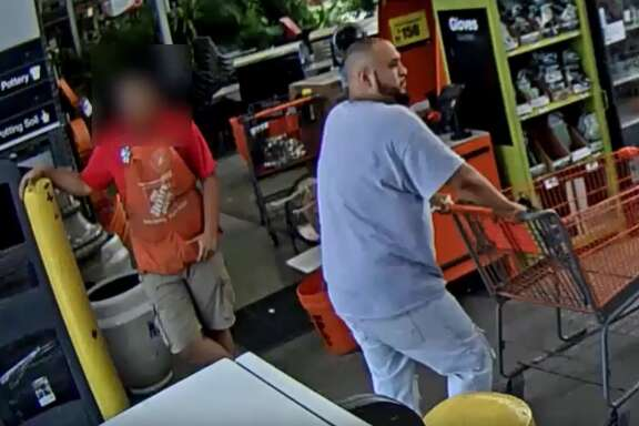 The Houston Police Department is searching for a man who robbed robbed three different Home Depot stores and two Lowe's in the course of nine days around the Houston area.