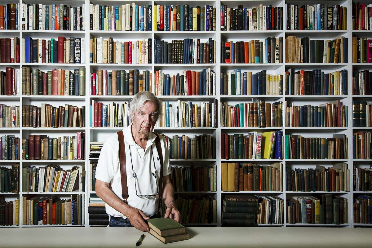 """Larry McMurtry, the famed Texas novelist, screenwriter and bookseller, who won a Pulitzer Prize for his book """"Lonesome Dove"""", stands in his bookstore, Booked Up No. 1, before auctioning off more than 300,000 books at """"The Last Book Sale,"""" Thursday, Aug. 9, 2012, in Archer City. ( Michael Paulsen / Houston Chronicle )"""