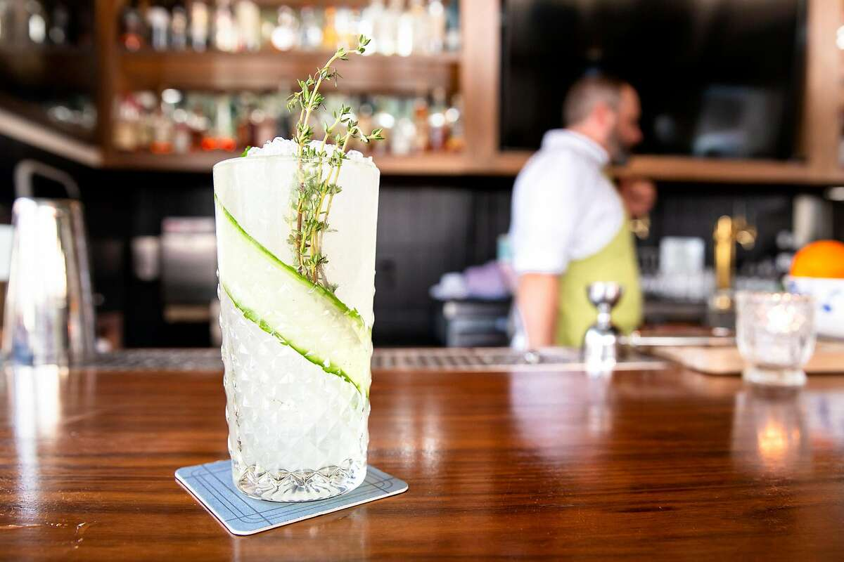 The Spindrift Cobblers made with a mix of Riesling, lime, Chareau aloe liqueur, salted nori syrup and lime Bitters at Violet's Tavern in San Francisco, Calif. on Friday, August 10, 2018.