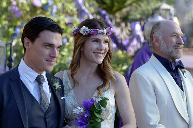 "Finn Wittrock (left) as Demetrius, Lily Rabe (center) as Helena, and Ted Levine (right) as Theseus in ""A Midsummer Night's Dream."""