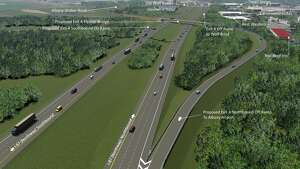 Renderings of the proposed connection to Albany International Airport from northbound I-87.