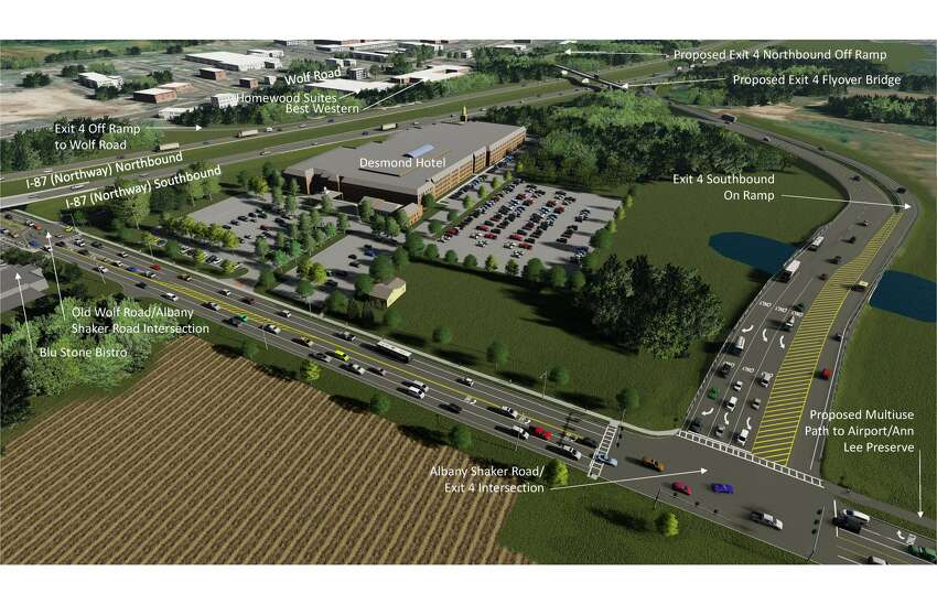 Renderings of the proposed connection to Albany International Airport from I-87.