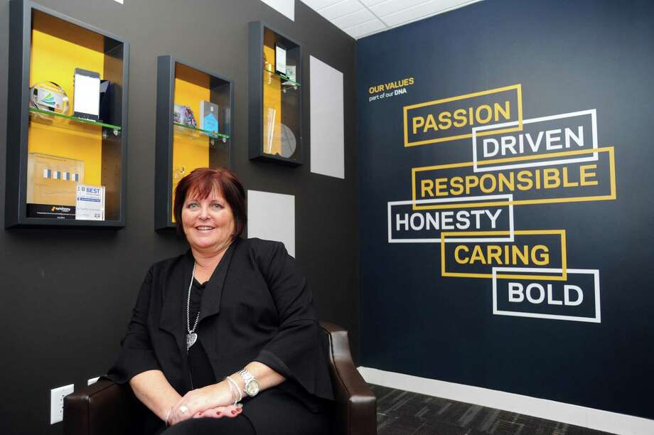 Synchrony CEO and President Margaret Keane poses for a photo at Synchrony headquarters at 777 Long Ridge Road in Stamford, Conn., on Monday, Nov. 27, 2017. Photo: Michael Cummo / Hearst Connecticut Media / Stamford Advocate