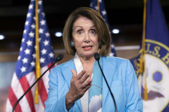 House Minority Leader Nancy Pelosi, D-Calif., speaks to reporters about the Trump Administration immigration policy of family separations on Capitol Hill in Washington, Thursday, July 26, 2018. (AP Photo/J. Scott Applewhite)