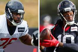 Seantrel Henderson didn't practice and DeAndre Hopkins was limited at Texans camp on Aug. 14.