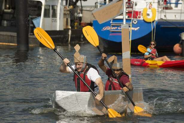 A cardboard kayak race is among the activities slated for SoundWaters' HarborFest Aug. 25 in Stamford.