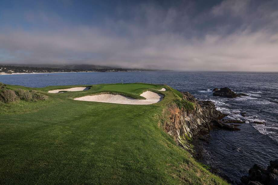 The startlingly scenic No. 7 hole at Pebble Beach, the famous downhill par-3 alongside the ocean. Photo: Courtesy USGA