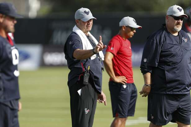 Houston Texans head coach Bill O'Brien runs practice during training camp at the Methodist Training Center on Tuesday, Aug. 14, 2018, in Houston.