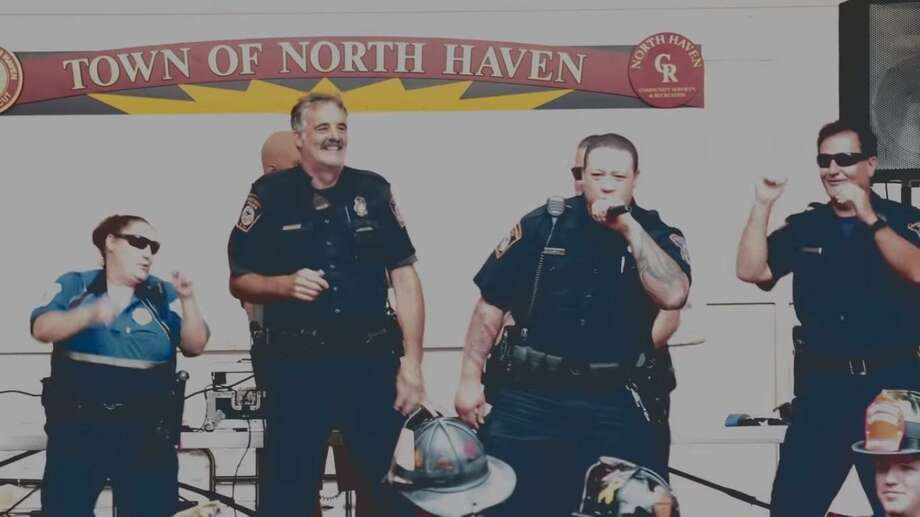 The North Haven Police Department released its lip-sync challenge video, as it took the opportunity presented by the social media phenomenon to have fun and spread goodwill in town. Photo: Screenshot From The Lip-sync Video.