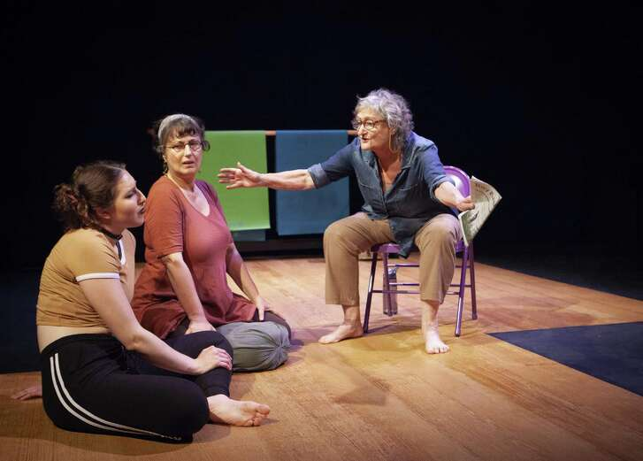 "Miranda Swain (left), Jeri Lynn Cohen and Patricia Silver in ""#GetGandhi"" at Z Below."