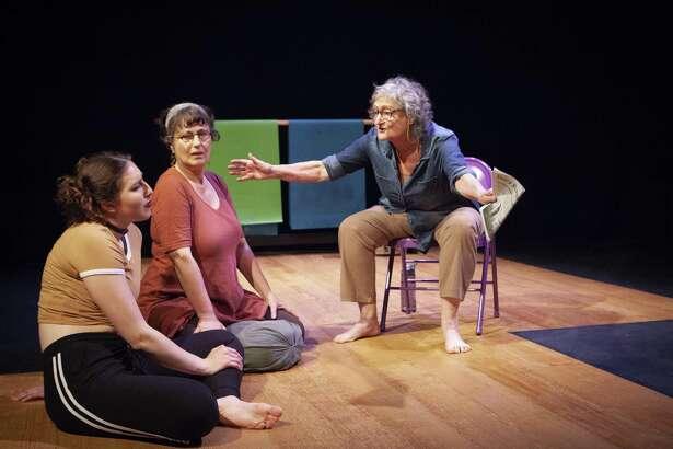 "Miranda Swain (left), Jeri Lynn Cohen and Patricia Silver in ""#GetGandhi"" at Z Below."